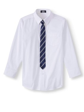 Arrow Aroflex Stretch Poplin Dress Shirt and Tie, 2 Piece Set (Husky Boys)