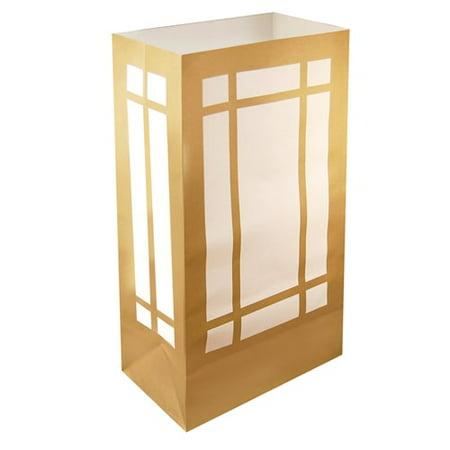 LumaBase Gold Lantern Luminaria Bags, 100 Count
