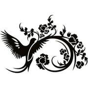 Design on Style Floral Bird flowers' Vinyl Lettering