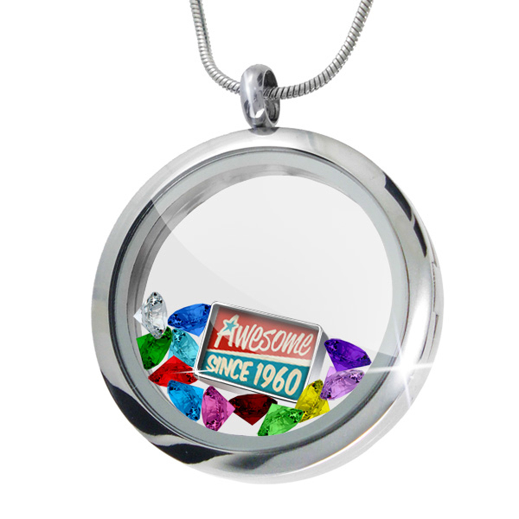 Floating Locket Set Awesome since 1960, Birthday/Year - NEONBLOND