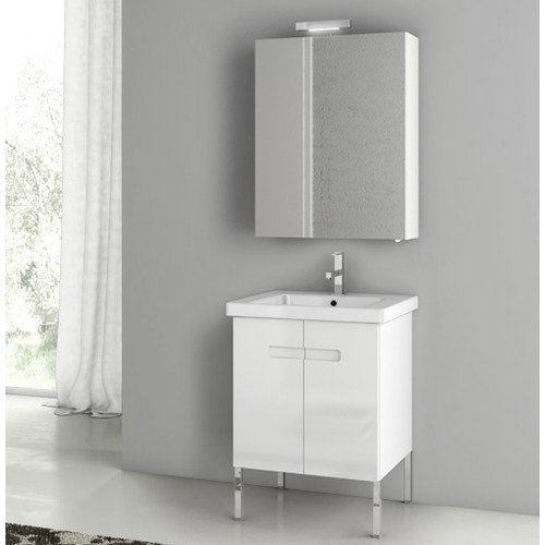 Lastest ACFB1062 Features Set Includes Wall Mounted Vanity Fitted White Ceramic Sink Medicine Cabinet And Vanity Light Style Contemporary Comes With 2 Doors Cabinet Material Engineered Wood New York Collection Style Contemporary Top