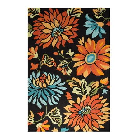 5 X 7 5 Black  Blue And Orange Hand Tufted Stella Wool Area Throw Rug