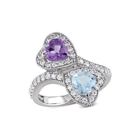 - 2.50 Carat (ctw) Blue Topaz and Amethyst Heart Promise Ring in Sterling Silver with Lab Created White Sapphires