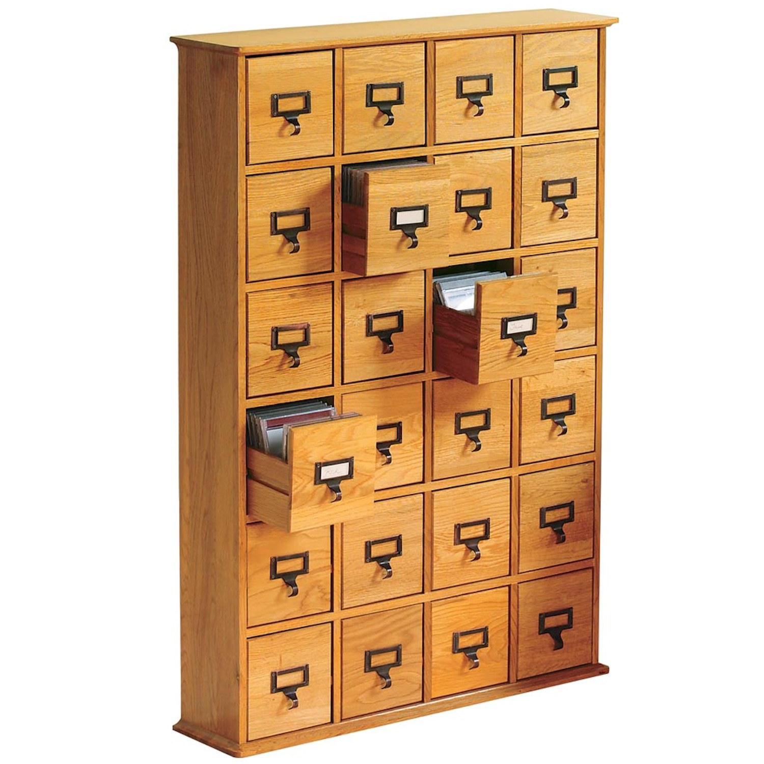 Library Catalog Media Storage Cabinet - 24 Drawer - Stores 288 CDs or DVDs - Plain Oak Wood