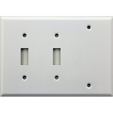 smooth white three gang wall plate - two toggle switches one blank Steren White Blank
