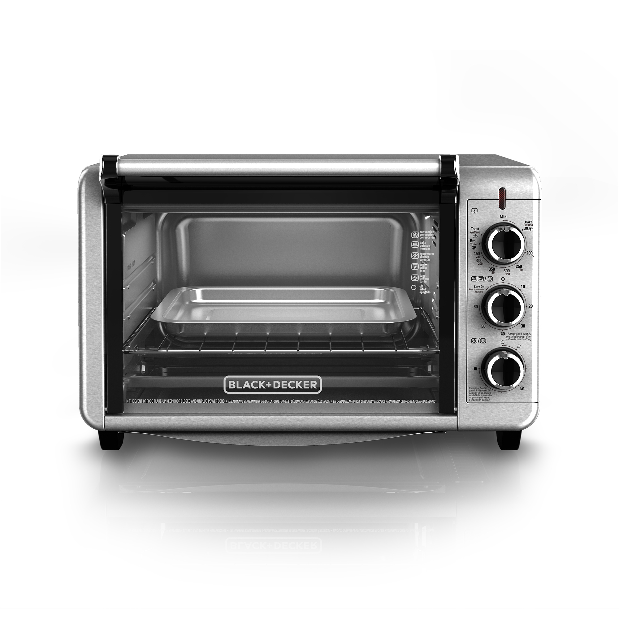 BLACK+DECKER 6-Slice Convection Countertop Toaster Oven, Stainless Steel, TO3210SSD