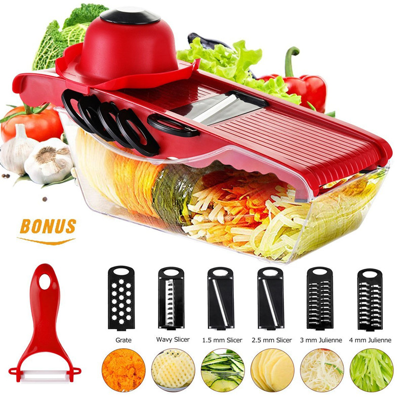 WALFRONT Mandoline Slicer Vegetable Cutter Chopper Dicer-Onion Cutter Chopper Pro-Kitchen Potato Slicer Food Slicer Cheese Chopper Veggie Cutter for Cucumber,5 Interchangeable Blades with Peeler