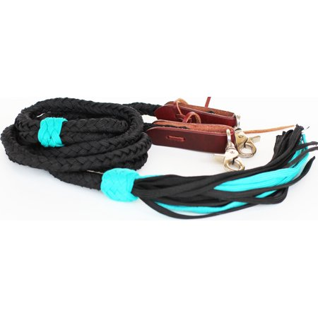 Horse Roping Western Barrel Reins Nylon Braided Black Turquoise 607143
