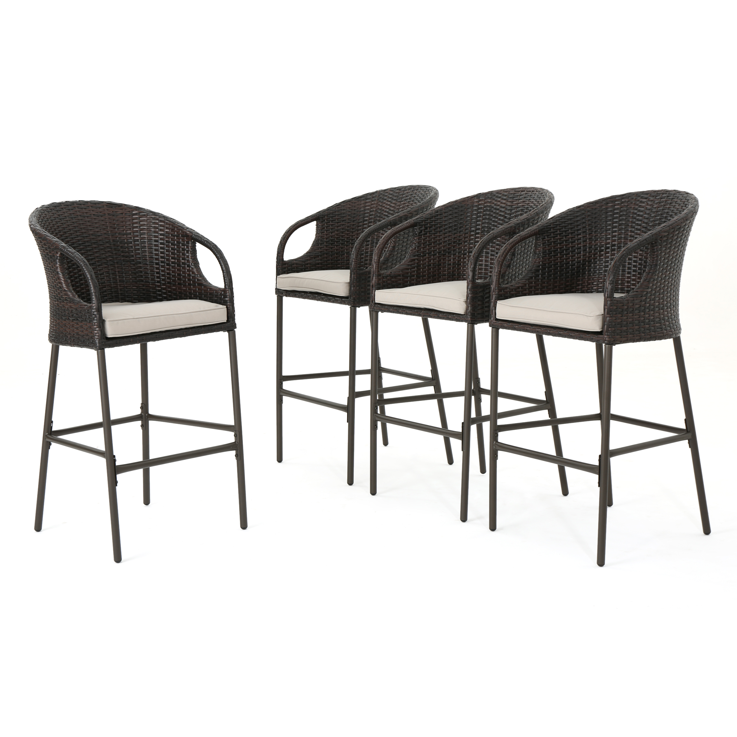 Dunlevy Outdoor Multibrown Wicker Barstools with Water Resistant Cushions, Set of 4, Light Brown