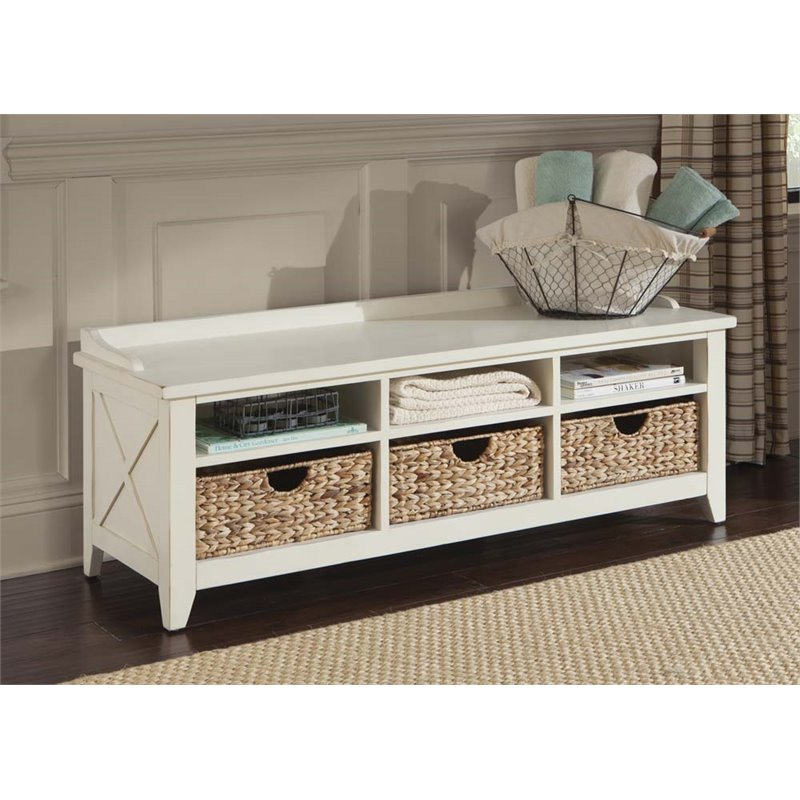 Liberty Furniture Hearthstone 6 Cubby Storage Bench in Rustic White