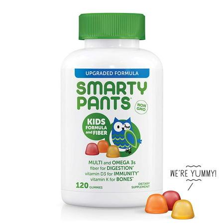 SmartyPants Kids Complete and Fiber Gummy Vitamins: Multivitamin, Gluten Free, Prebiotic Fiber, Omega 3 Fish Oil (DHA/Epa Fatty Acids), Folate (methlyfolate),Vitamin D3, 120 Count