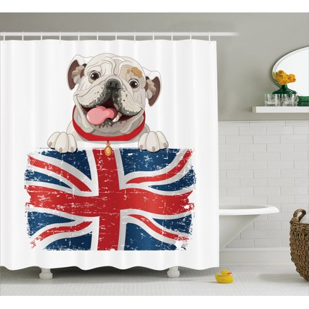 English Bulldog Shower Curtain Happy Pet Holding A Union Jack Flag Of The Great