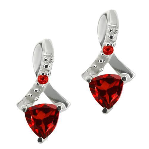 0.71 Ct Genuine Trillion Red Garnet Gemstone Sterling Silver Earrings