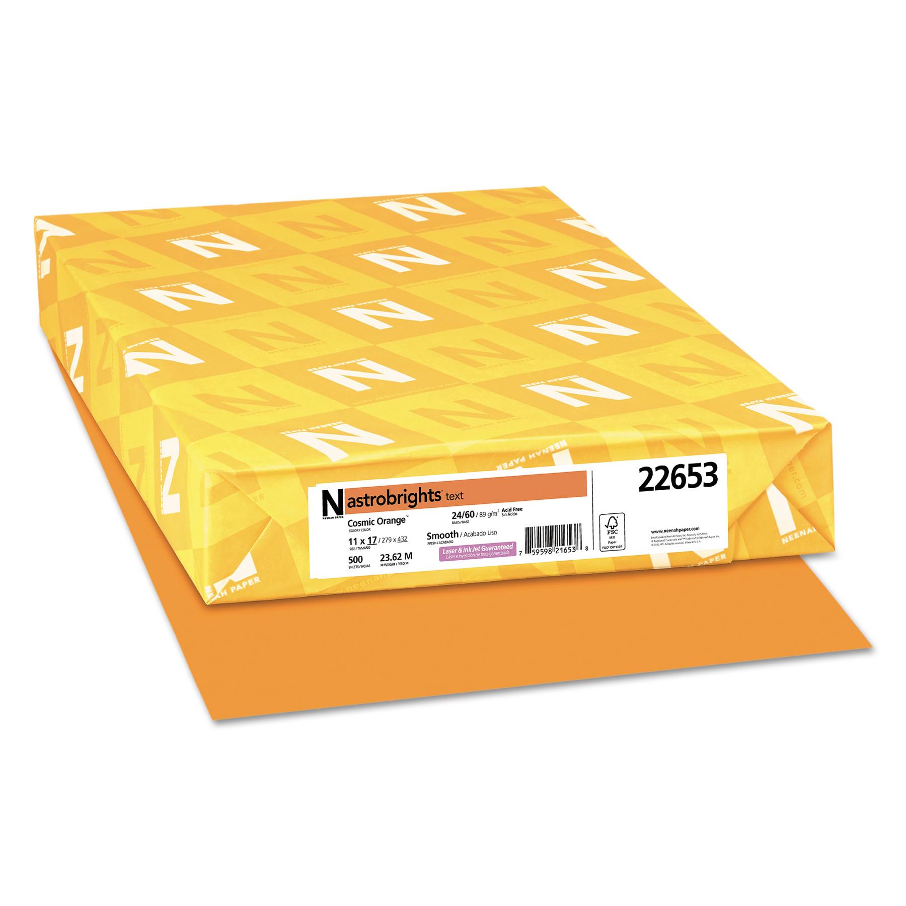 Astrobrights Color Paper, 24lb, 11 x 17, Cosmic Orange, 500 Sheets -WAU22653
