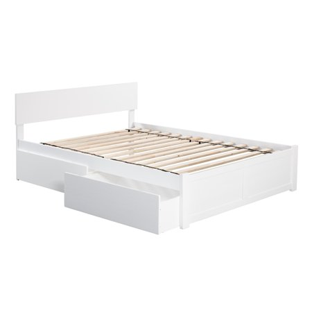 Atlantic Furniture Orlando Full Platform Bed with Flat Panel Foot Board and 2 Urban Bed Drawers in White ()