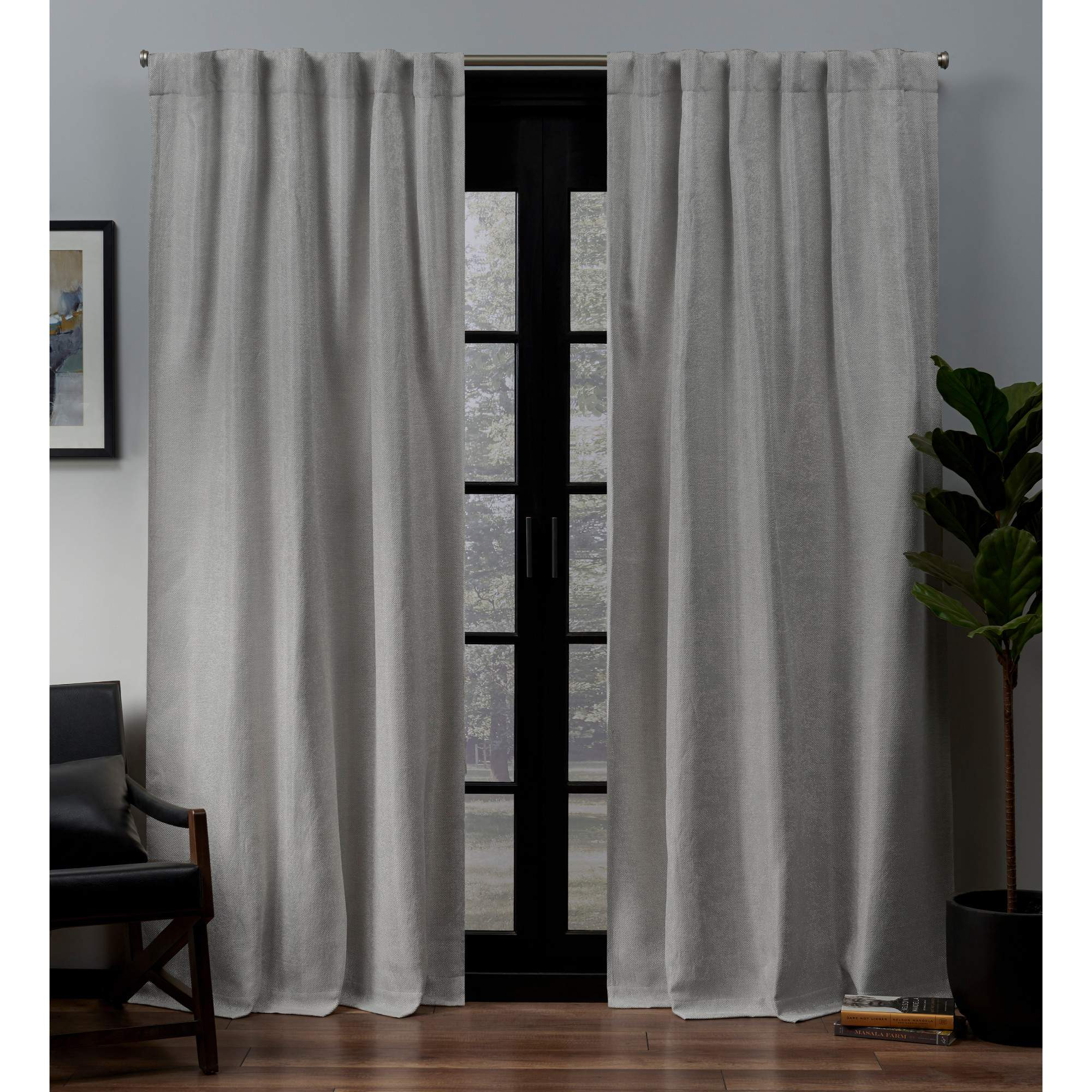 Exclusive Home Lancaster Woven Blackout Hidden Tab Curtain Panel Pair