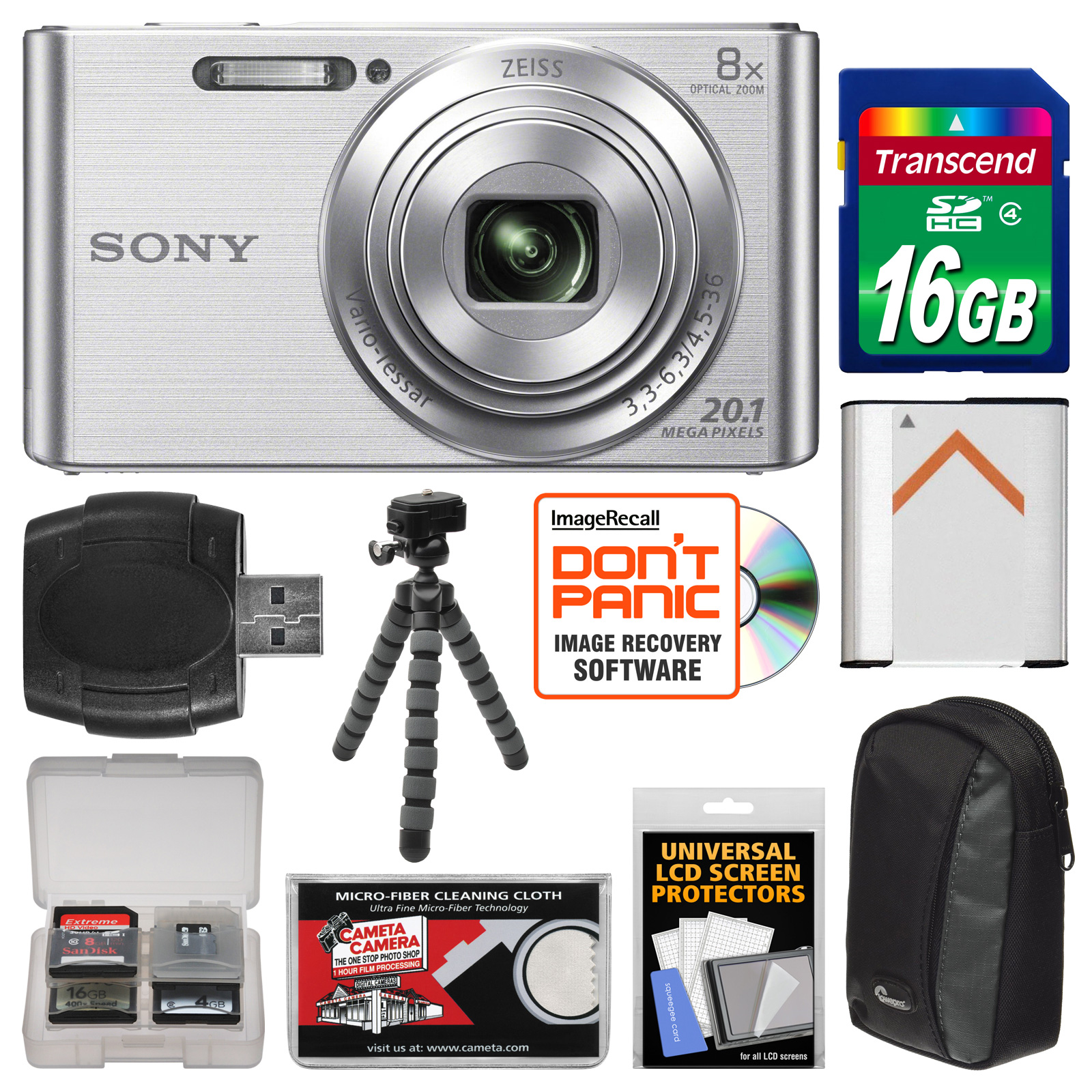 Sony Cyber-Shot DSC-W830 Digital Camera (Silver) with 16GB Card + Case + Battery + Flex Tripod + Accessory Kit