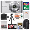 "Sony Cyber-Shot DSC-W830 Digital Camera (Silver) with 16GB Card + Case + Battery + Flex Tripod + Accessory Kit "" Kit Includes 10 Items with all Mfr-supplied Acc + Full USA Warranties 1) Sony Cyber-Shot DSC-W830 Digital Camera (Silver) 2) Transcend 16GB SecureDigital Class 4 (SDHC) Card 3) Spare NP-BN Battery for Sony 4) Lowepro Newport 10 Digital Camera Case (Black/Grey) 5) Precision Design PD-T14 Flexible Compact Camera Mini Tripod 6) Precision Design SD/SDHC + MicroSD HC Card Reader 7) Precision Design 8 SD / 2 MicroSD Memory Card Case 8) Precision Design Universal LCD Screen Protectors 9) Microfiber Cleaning Cloth 10) Image Recovery Software The incredibly easy-to-use Sony Cyber-Shot DSC-W830 Digital Camera slips right in your pocket, ready to capture a memory at a moments notice. Get close to faraway subjects with 8x optical zoom, then snap gorgeous 20.1MP photos or record beautifully-detailed HD video. Your pictures will come out crisp and clear thanks to the professional-grade Carl Zeiss lens with Optical SteadyShot image stabilization. For even more fun, enhance your stills and video with built-in creative effects like Toy Camera and Pop Color. Or try Beauty Effects to adjust skin tones, remove blemishes and even whiten teeth -- its perfect for portraits. Key Features: More Pixels Please: With a 20.1MP Super HAD CCD image sensor, capture high-resolution images with superb contrast and clarity down to the finest detail. More pixels means you can enlarge, zoom in and crop your pictures without jeopardizing quality. With a professional-grade Carl Zeiss lens and 8x optical zoom, you can zero in on distant details for crisp, clear close-ups -- perfect for travel photos and sporting events. Say Goodbye to Blur: Dont let a not-so-steady hand prevent you from capturing the moment. Optical SteadyShot image stabilization with Active Mode compensates for camera shake by countering camera movements in both horizontal and vertical directions. Get sharp, blur-free footage and photos in otherwise unsteady situations, like shooting video while walking. HD Movie Magic: Shoot and share HD movies with ease (records in 29-minute segments). In 720p MP4 movie mode, you can record 1280 x 720 HD movies at 30 fps for high-quality clips perfect for viewing and editing on your Mac or PC, or uploading to sites like Facebook and YouTube (Internet-connected computer required). Effortless Effects: Let your imagination run free with a variety of fascinating in-camera effects for your still images, videos and even sweep panoramas. Retouch images with professional results with Beauty Effects -- enhance skin tone, remove shine and blemishes, whiten teeth and more. If you like retro photographs, youll love Toy Camera -- it gives your pictures a charming lo-fi feel. Transform ordinary photos into colorful works of art with Pop Color, or make your focal point pop with Partial Color effect. Its quick and easy to apply effects, and the results are simply stunning. Everything is Illuminated: Ever taken a photo of a friend in a dimly-lit room, and had the entire background come out as one blacked-out blur? Frustrating, yes -- not to mention less than frame-worthy. The Cyber-shot W830 solves this dilemma with an advanced flash that works harder to light up the entire scene, not just the subjects closest to the camera. Its perfect for large group shots, helping to ensure that everyone comes out light, bright and beautiful. Easy Enough for Everyone: No need for pro photography skills here -- if you want, this camera will do the heavy lifting for you. Its super-smart iAuto mode detects the scene, lighting, even faces, then automatically adjusts settings to optimize the shot. Get gorgeous results every time, and forget about fumbling with buttons and menus. All you have to do is click away and collect the compliments."""