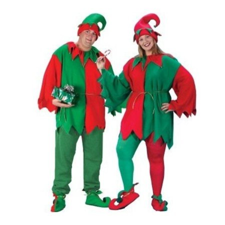Plus Size Christmas Costume (Red and Green Unisex Adult 5-Piece Christmas Elf Costume Set - Adult Men's/Women's Plus)
