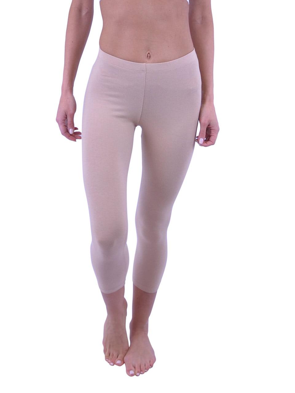 Vivian's Fashions Capri Leggings - Cotton, Junior Size (Beige, 1X)