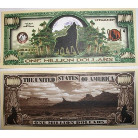 Set of 10 Bills-Wolf Million Dollar Bill By Novelties Wholesale - Wholesale Novelty Items