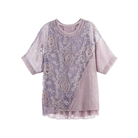 Women's Lace Tunic Set - 2-Piece Cutwork Dolman Pink Blouse and Tank Top - Cutwork Lace