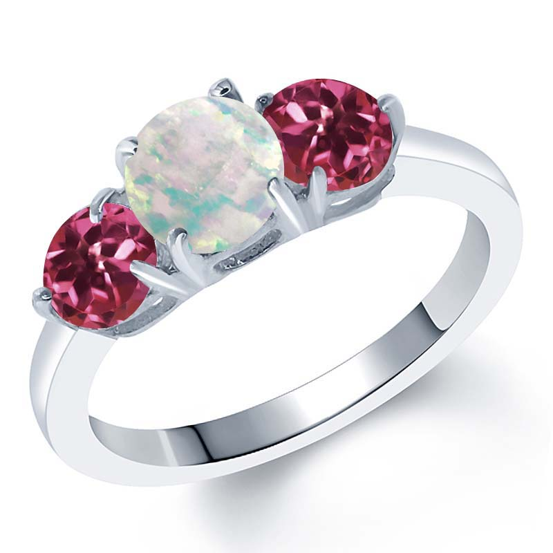 1.65 Ct Round White Simulated Opal Pink Tourmaline AAA 925 Sterling Silver Ring by