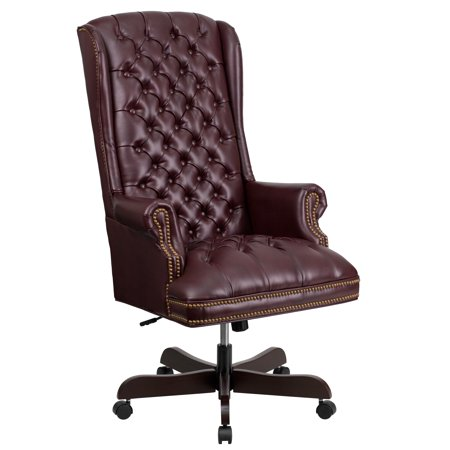 A Line Furniture Button Tufted Burgundy Leather Adjustable Executive Swivel Wing Office (Adidas Gazelle Og Leather Trainers In Burgundy White)