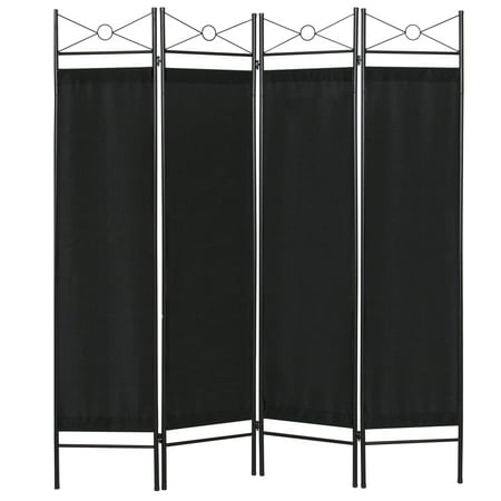 Best Choice Products 6ft 4-Panel Folding Privacy Screen Room Divider Decoration Accent for Bedroom, Living Room, Office w/ Steel Frame - Black