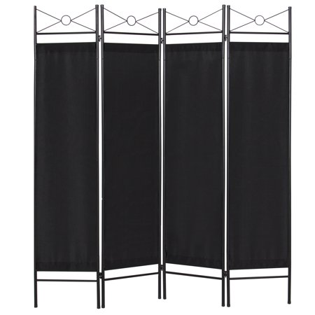 Best Choice Products 6ft 4-Panel Folding Privacy Screen Room Divider Decoration Accent for Bedroom, Living Room, Office w/ Steel Frame - Black 3 Panel Black Room Divider