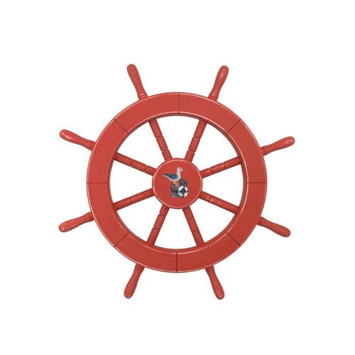 Handcrafted Nautical Decor Rustic Red Decorative Ship Wheel with Seagull Wall D cor