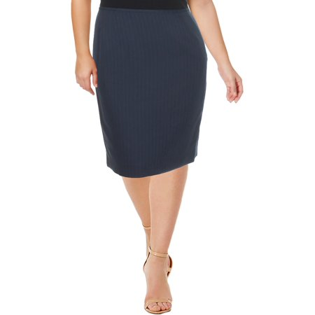 Le Suit Womens Woven Striped Pencil Skirt