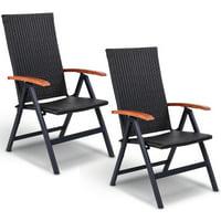 Costway 2PCS Patio Folding Back Adjustable Aluminum Rattan Chair Lounge Recliner Garden