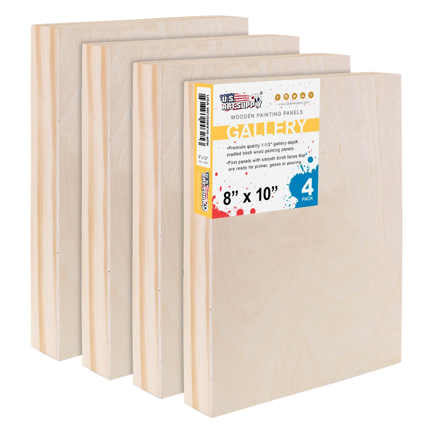 """U.S. Art Supply 8"""" x 10"""" Birch Wood Paint Pouring Panel Boards, Gallery 1-1/2"""" Deep Cradle (Pack of 4)"""
