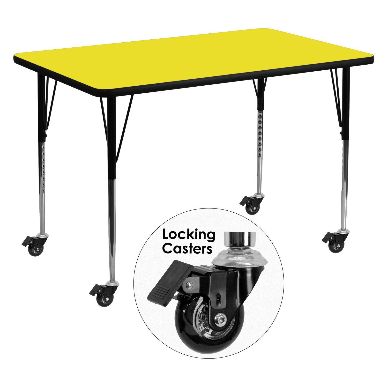 Flash Furniture Mobile 30''W x 48''L Rectangular Activity Table with 1.25'' Thick High Pressure Yellow Laminate Top and Standard Height Adjustable Legs