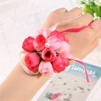 Bridesmaid Wedding Girls Prom Party Wrist Corsage Bracelet Hand Flowers Decor(Rose Red)