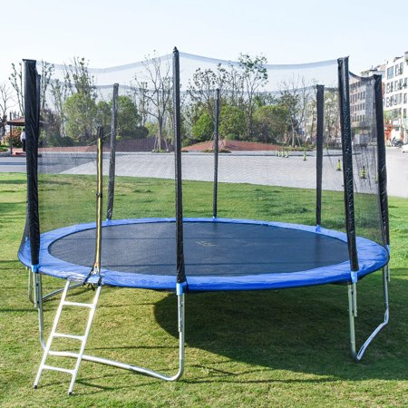 【LNCDIS】10 FT Kids Trampoline With Enclosure Net Jumping Mat And Spring Cover Padding  2pcs