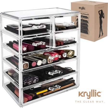 Clear Makeup Organizer Acrylic Large 7 Drawer Make Up Storage Lipstick Vanity Cosmetic Organizer Countertop by Kryllic ()