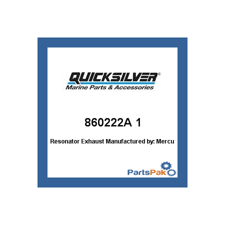 Quicksilver Exhaust System - Mercury - Mercruiser 860222A 1 Mercury Quicksilver 860222A 1 Resonator Exhaust-