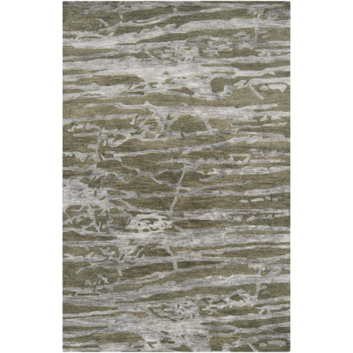 5' x 8' Grotto Mountain Rock Mossy Stone Green and Gray Wool Area Throw Rug