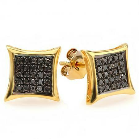 0.10 Carat (ctw) 10K Yellow Gold Round Black Diamond Micro Pave Setting Kite Shape Stud Earrings 1/10 (Pave Diamond Setting)