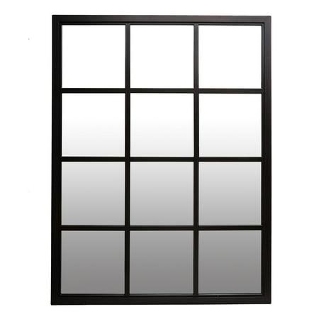 (Patton Wall Decor 23x30 Classic Black Windowpane Mirror)