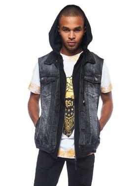 075ea3f9338 Mens Hipster Urban Distressed Denim Jean Vest Jacket W  Attach Hood DK110