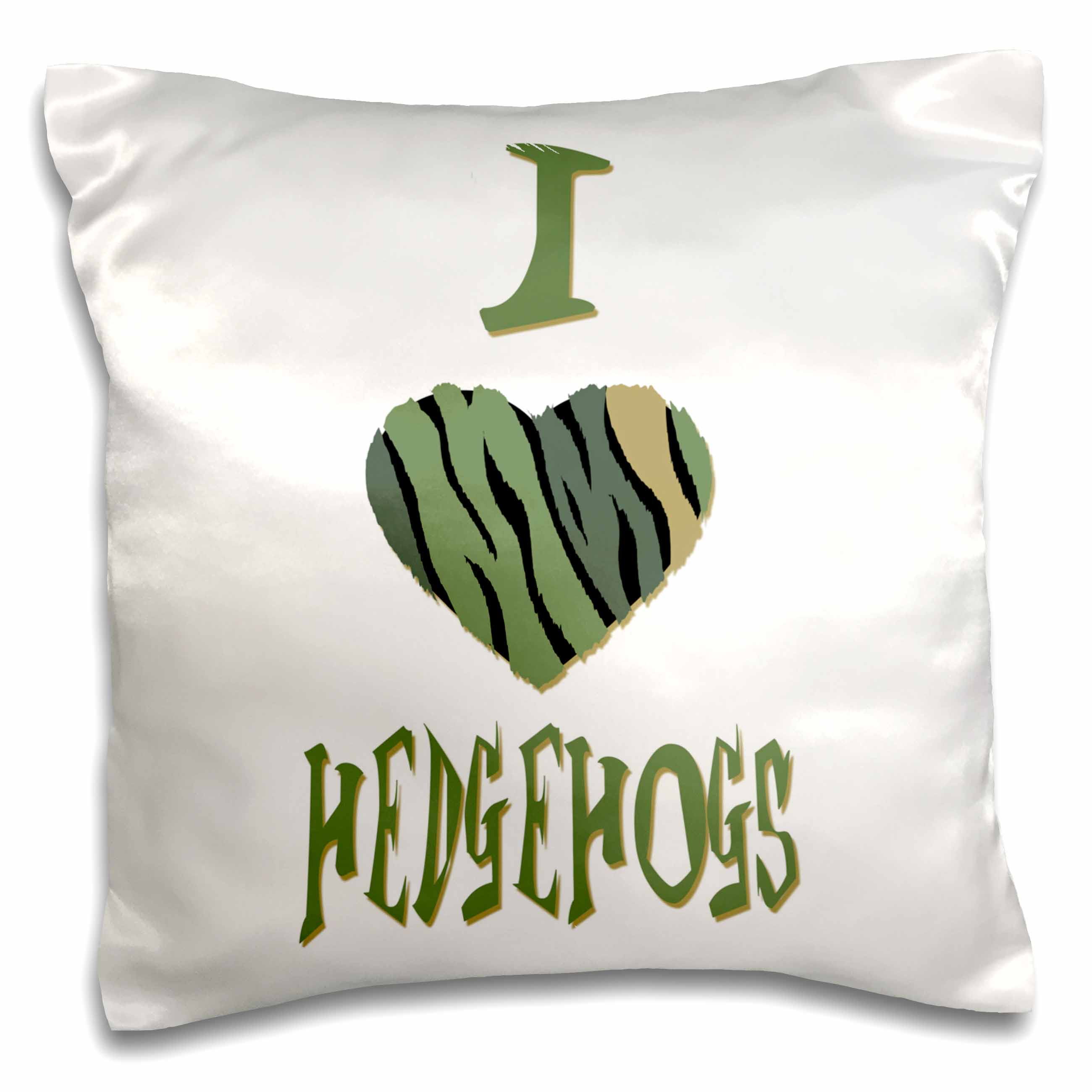 3dRose  Camo Colored Striped I Love Hedgehogs, Pillow Case, 16 by 16-inch