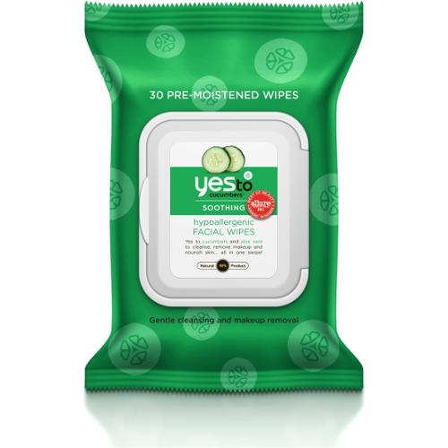 Yes To Cucumbers Hypoallergenic Facial Wipes 30 ct - Facial Wipes - Clean Skin - Hypoallergenic - All- Natural - Soothin