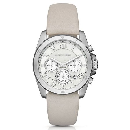 Chronograph Silver Dial Leather (Michael Kors  Women's  Brecken Chronograph Silver Dial White Leather Watch )