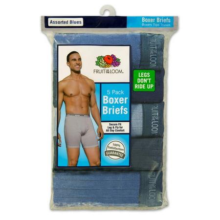 (Men's Assorted Blues Boxer Briefs, 5 Pack)
