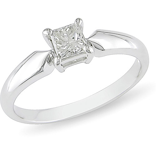 1/2 Carat T.W. Princess Cut Diamond Solitaire Engagement Ring in 14kt White Gold
