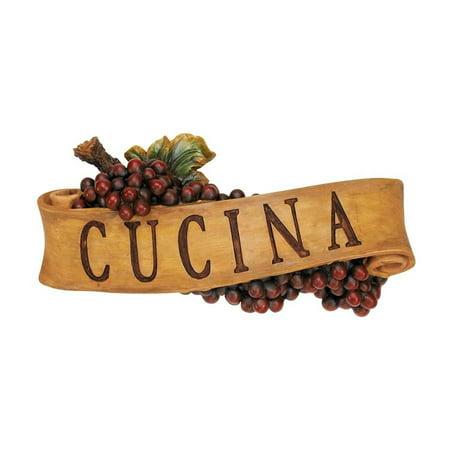 Italian Wall Plaque (Italian Cucina Kitchen Grapes Sculptural Wall Plaque)