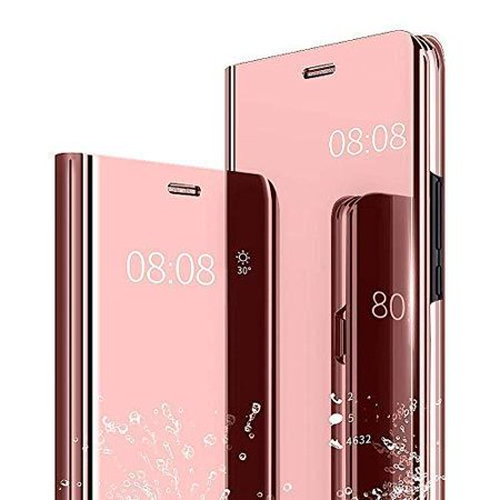 Window Flip Folio - High Supply Compatible/Replacement fit Galaxy S9 Plus Case Cover Mirror Smart Clear View Window Flip Case Slim Multi-Function Mirror Case S-View Stand flip Folio Case Full Body Protection (Rose Gold)